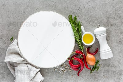 Culinary background with empty white cooking board and space for a text, flat lay