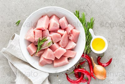 Turkey meat sliced and ingredients for cooking on light grey stone background