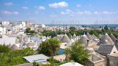 Panoramic view of Alberobello town
