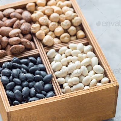 Different kinds of beans in a wooden box on concrete background, square