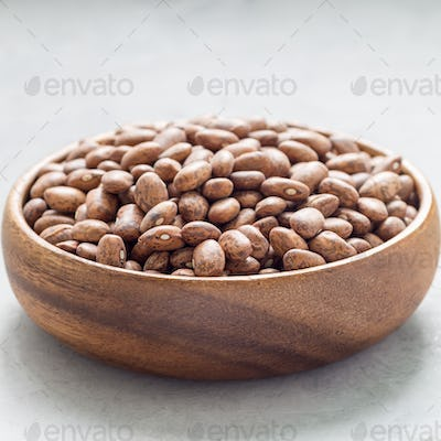 Uncooked dry pinto beans in a wooden bowl, square