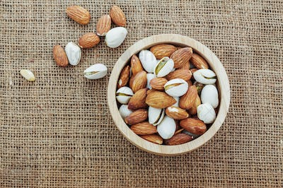 Almond in a bowl with top view