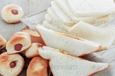 Bread on wooden floor