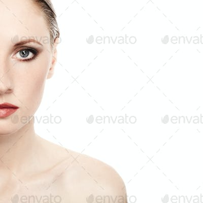 Portrait of a beautiful woman isolated on a white background