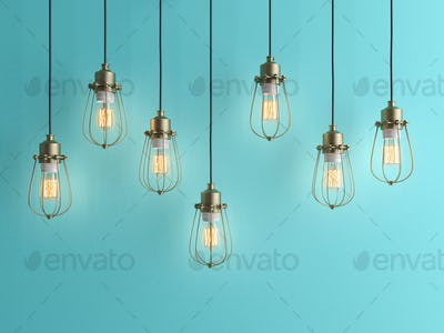 Seven vintage lamps hanging from the ceiling with blue wall 3D renderind