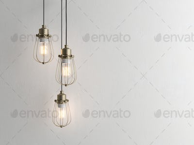 Three vintage lamps hanging from the ceiling with wall 3D renderind