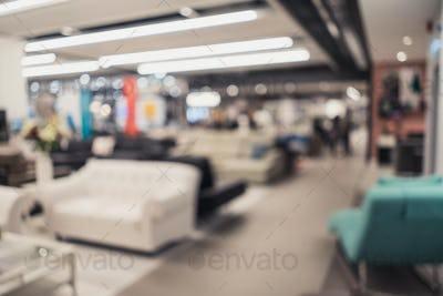 Abstract blurred image of furniture store interior