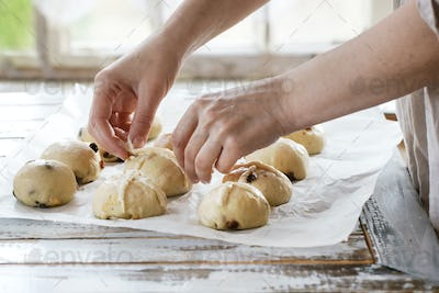 Raw unbaked buns