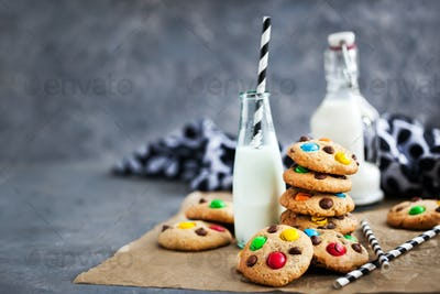 Homemade freshly baked chocolate chips cookies with candies