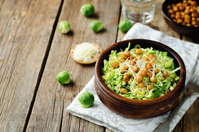 Shreded Brussels sprouts roasted chickpeas Parmesan salad