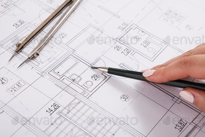 Architect drawing architectural project