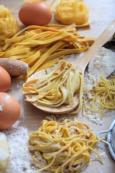Fresh tagliatelle pasta homemade preparation