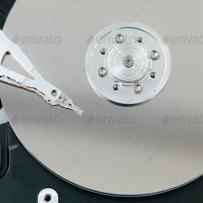 macro of an open hard disk
