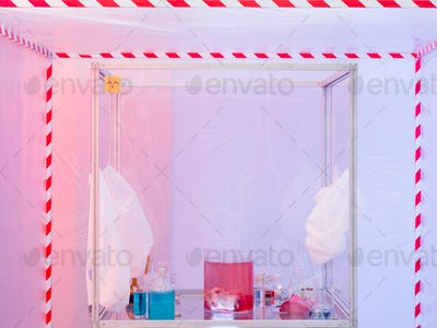 experiment equipment and materials in sterile chamber