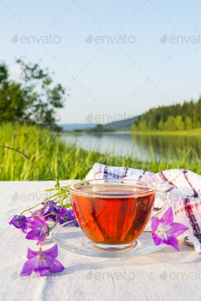 Summer tea time concept with blue bell flowers