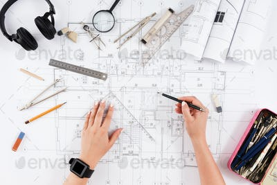 Architect drawing architectural project top view