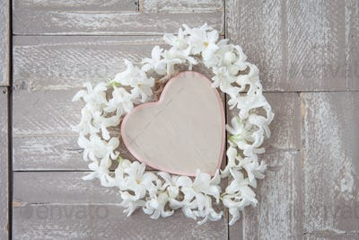 Heart made from hyacinths