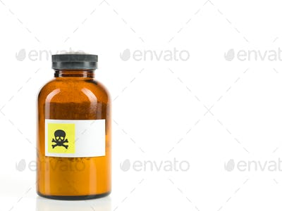 bottle containing toxic powder