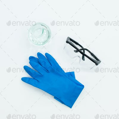 laboratory accessories on white table