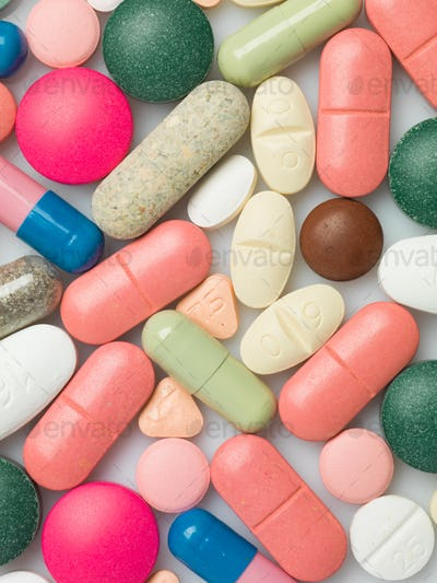 A group of colorful pills