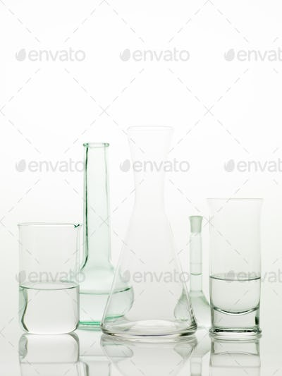 laboratory glass utensils on white background