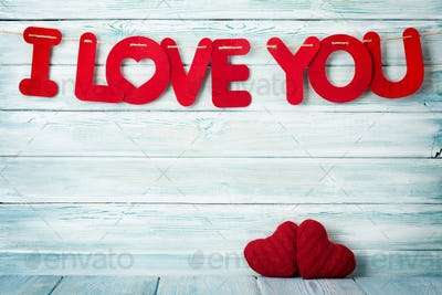 Valentines day greeting card with I love you words