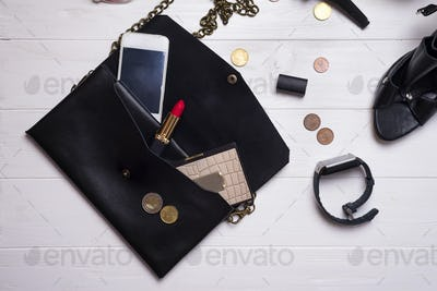 modern beautiful women's set of fashion accessories and cosmetics.