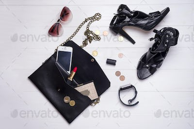 modern beautiful women's set of fashion accessories and cosmetics.