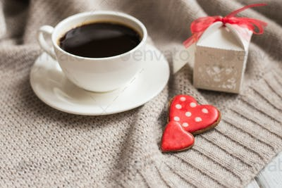 Valentines day heart shaped cookies, coffee