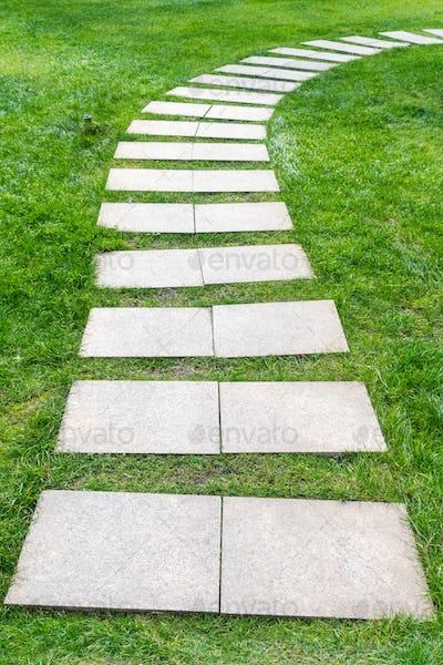 stone path on lawn