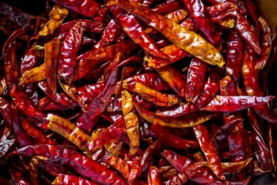 Closeup of dry chilli