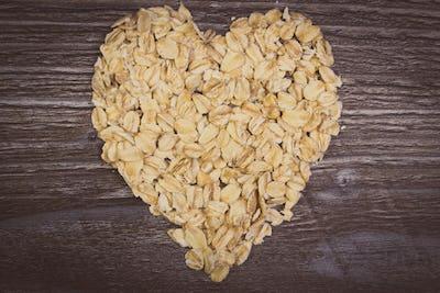 Vintage photo, Heart of oat flakes