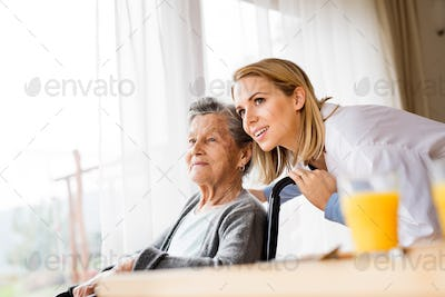 Health visitor and a senior woman during home visit.