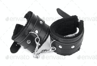 black leather handcuffs