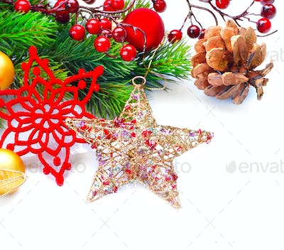 Christmas and New Year decoration isolated on white background.