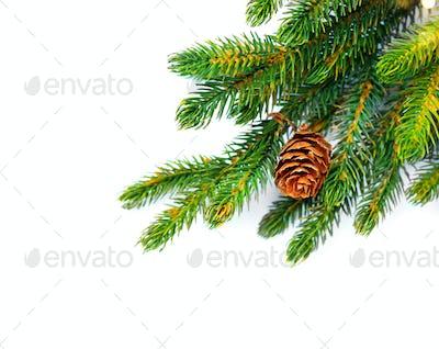 Christmas corner background. Decorated xmas tree isolated on whi