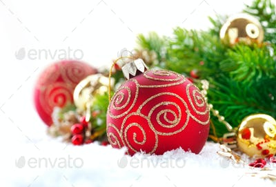 Red Christmas and New Year decorations over white background. Ch