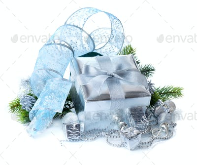 Christmas gift box and decorations isolated on white background