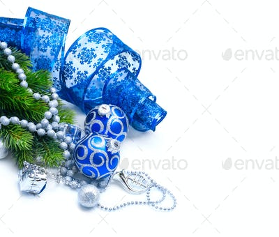 Christmas and New Year Blue blue decoration isolated on white. B