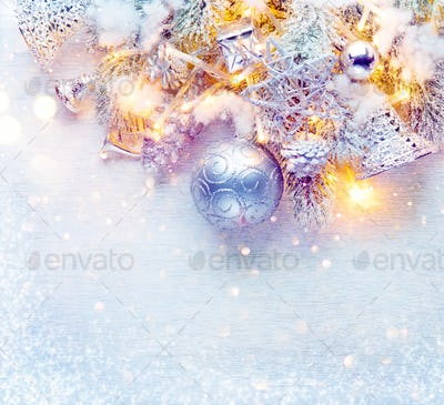 Christmas and New Year decoration over white wood background. Bo