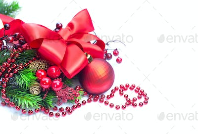 Red Christmas and New Year decoration isolated on white backgrou