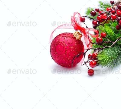 Christmas and New Year background. Red decorations and Christmas