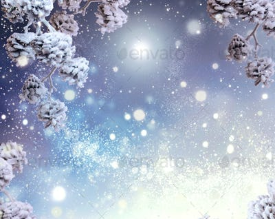 Winter holiday snow background. Snowflakes
