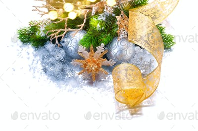 Christmas and New Year holiday decorations isolated on white bac