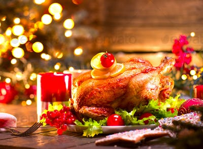 Christmas family dinner. Christmas holiday decorated table with