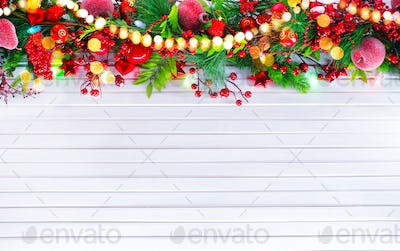 Christmas and New Year decoration over white wooden background.