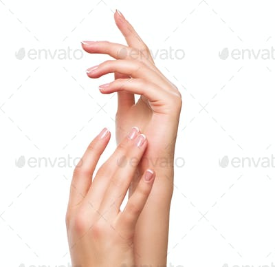 Beautiful woman hands. Spa and manicure concept. Female hands wi