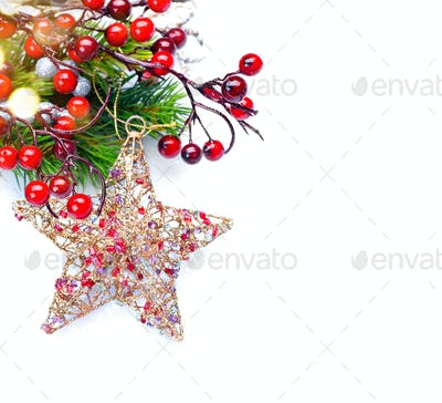 Christmas and New Year decoration isolated on white background
