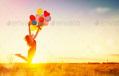 Beauty girl running and jumping on summer field with colorful ai