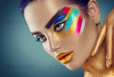 Beauty fashion art portrait of beautiful woman with colorful abs